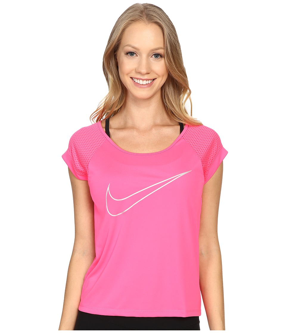 Nike - Dry Top Short Sleeve Run Fast (Hyper Pink) Women's Clothing
