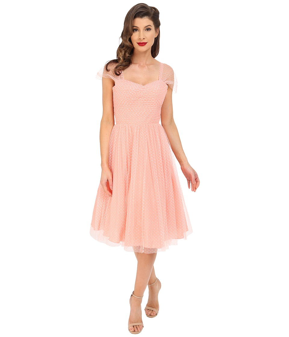 Unique Vintage - Chiffon Garden State Party Dress (Peach Dot) Women's Dress