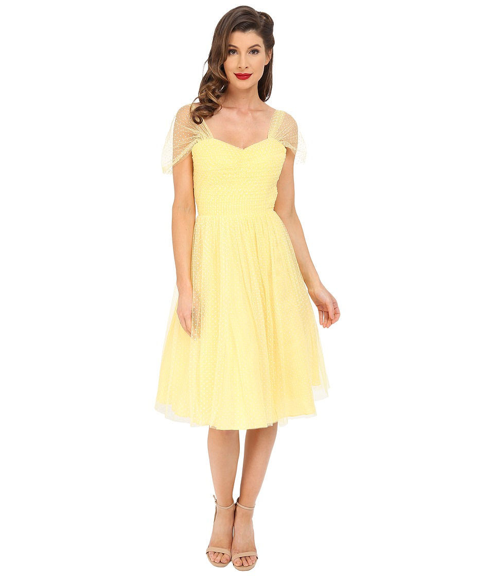 Unique Vintage - Chiffon Garden State Party Dress (Yellow Dot) Women's Dress