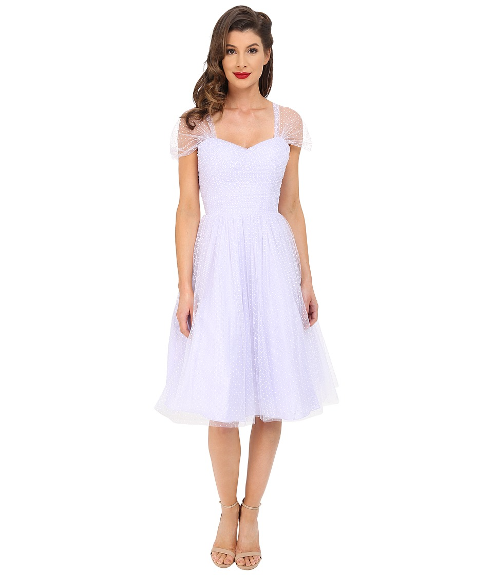 Unique Vintage - Chiffon Garden State Party Dress (Lavender Dot) Women's Dress