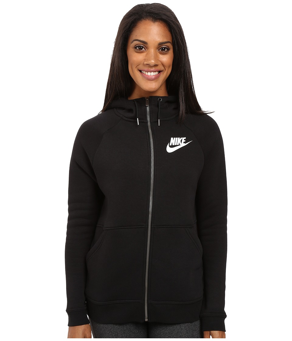 Nike - Rally Full-Zip Hoodie (Black/Black/Antique Silver/White) Women's Clothing