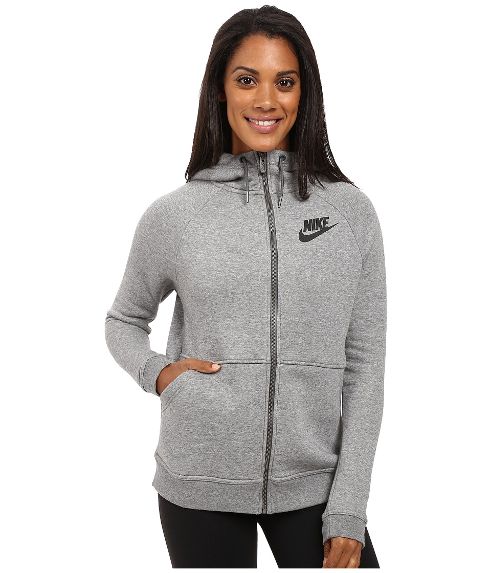 Nike - Rally Full-Zip Hoodie (Carbon Heather/Dark Grey/Black) Women's Clothing