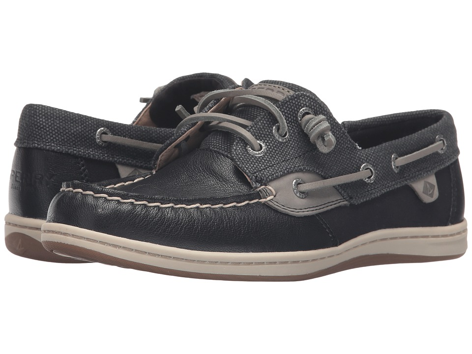 Sperry - Songfish Waxy Canvas (Black) Women's Lace Up Moc Toe Shoes