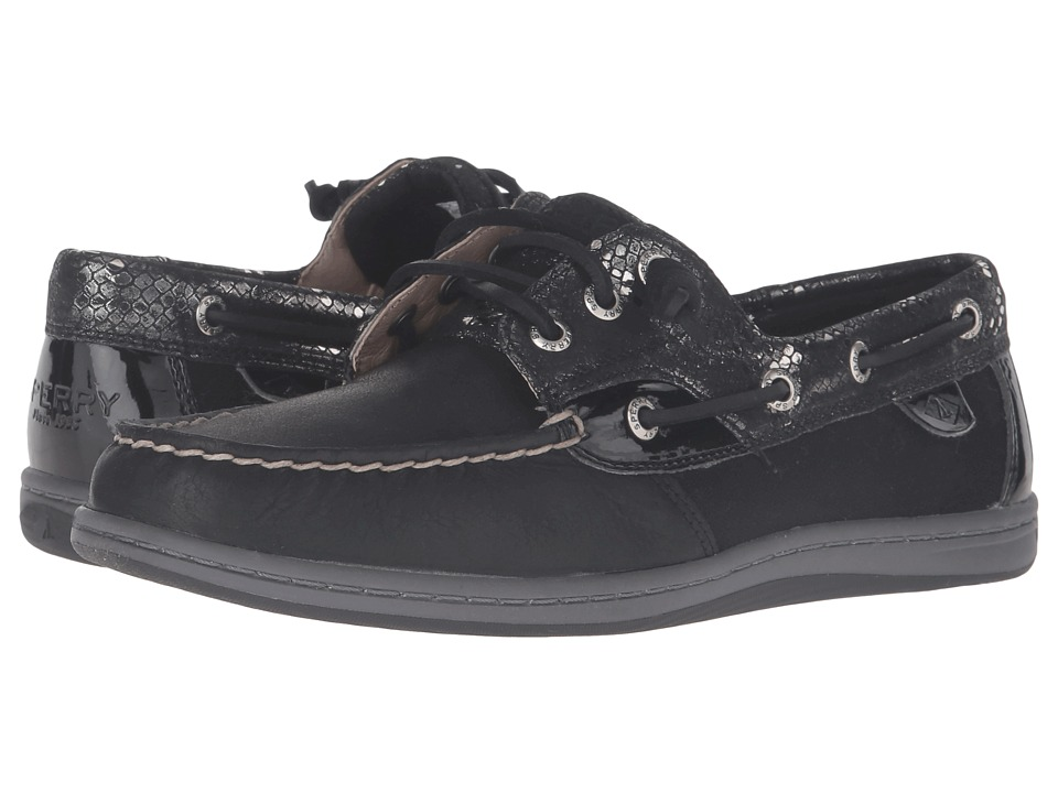 Sperry - Songfish Snake (Black) Women's Lace Up Moc Toe Shoes