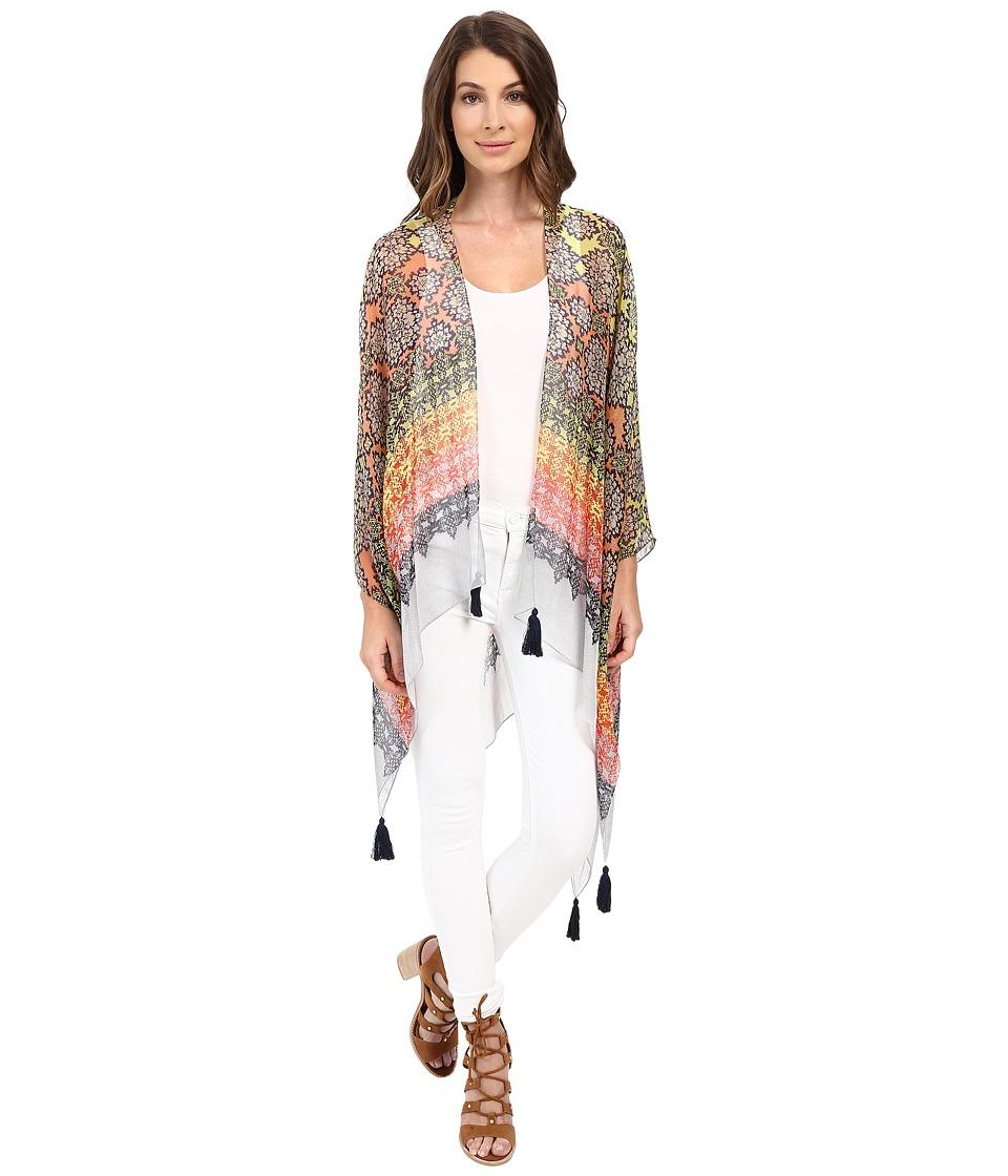 BCBGMAXAZRIA - Woodblock Ruana (Bright Poppy) Women's Clothing