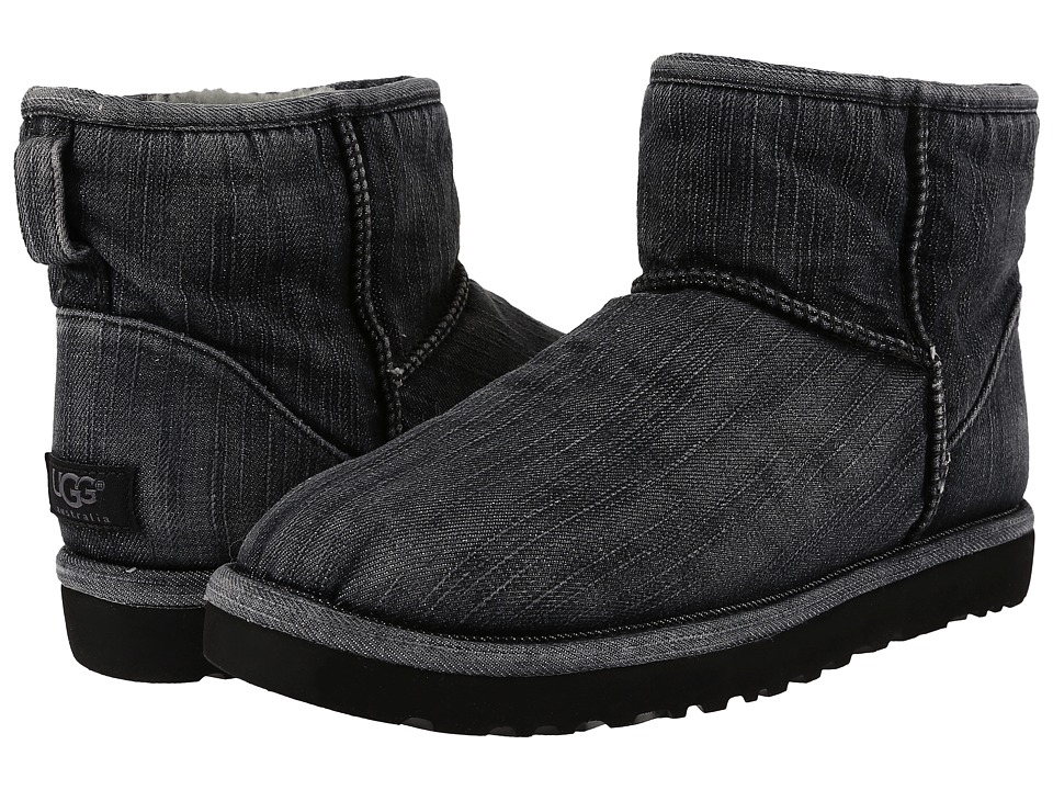 UGG - Classic Mini Washed Denim (Black Denim) Men's Pull-on Boots