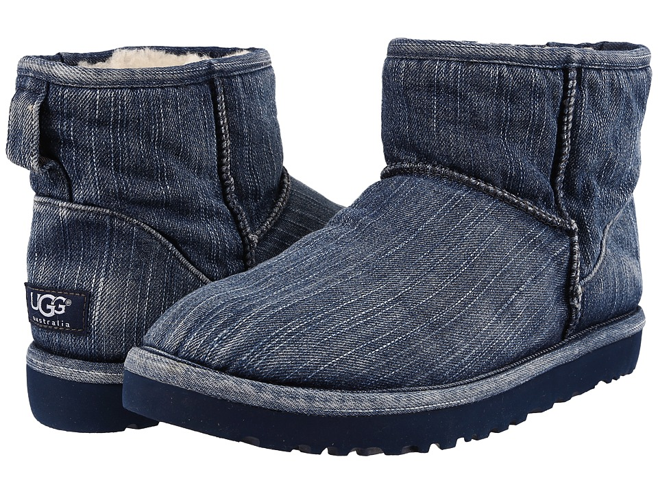 UGG - Classic Mini Washed Denim (Navy Denim) Men's Pull-on Boots