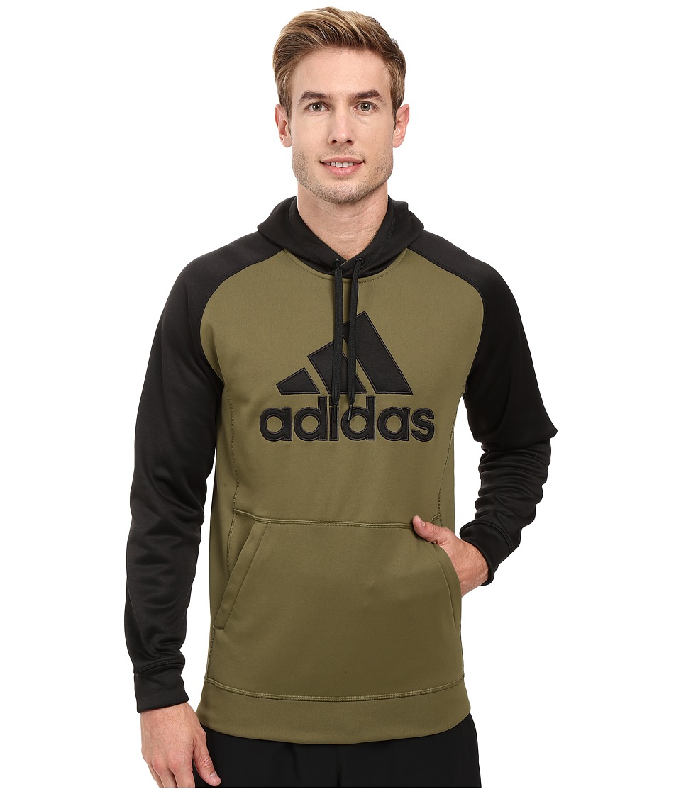 adidas - Team Issues Fleece Pullover Hoodie - Applique (Olive Cargo/Black Heather/Olive Cargo) Men's Sweatshirt