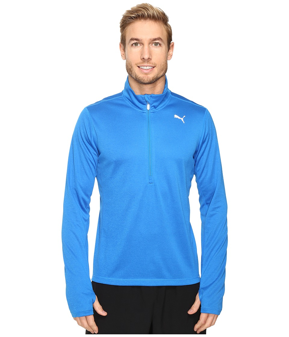 PUMA - PE Running Long Sleeve Half Zip Tee (Electric Blue Lemonade Heather) Men's T Shirt