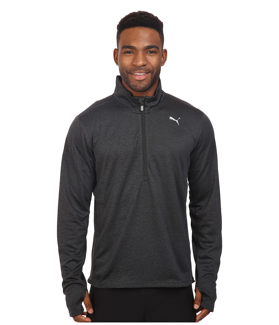 PUMA - PE Running Long Sleeve Half Zip Tee (Puma Black Heather) Men's T Shirt
