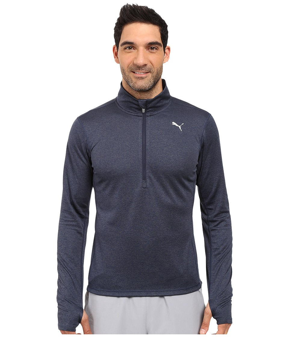 PUMA - PE Running Long Sleeve Half Zip Tee (Peacoat Heather) Men's T Shirt