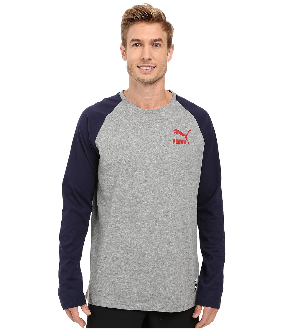 PUMA - Archive Logo Long Sleeve Raglan (Medium Gray Heather) Men's Long Sleeve Pullover