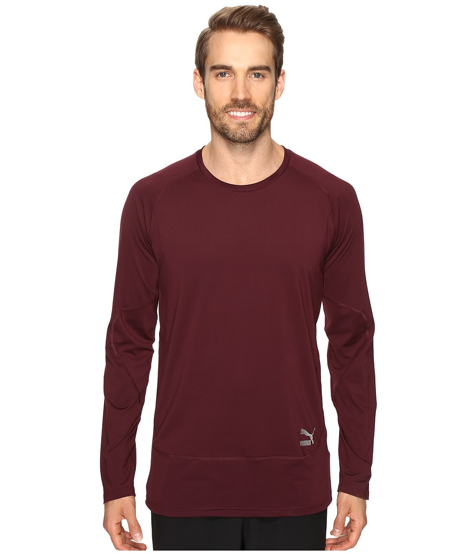 PUMA - Evo Long Sleeve Shirt (Winetasting) Men's Long Sleeve Pullover