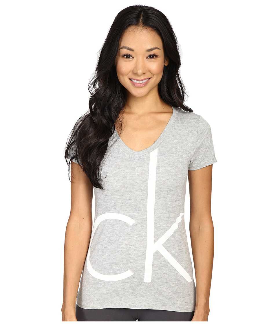 Calvin Klein Underwear - Lounge V-Neck Tee (Grey Heather) Women's Pajama