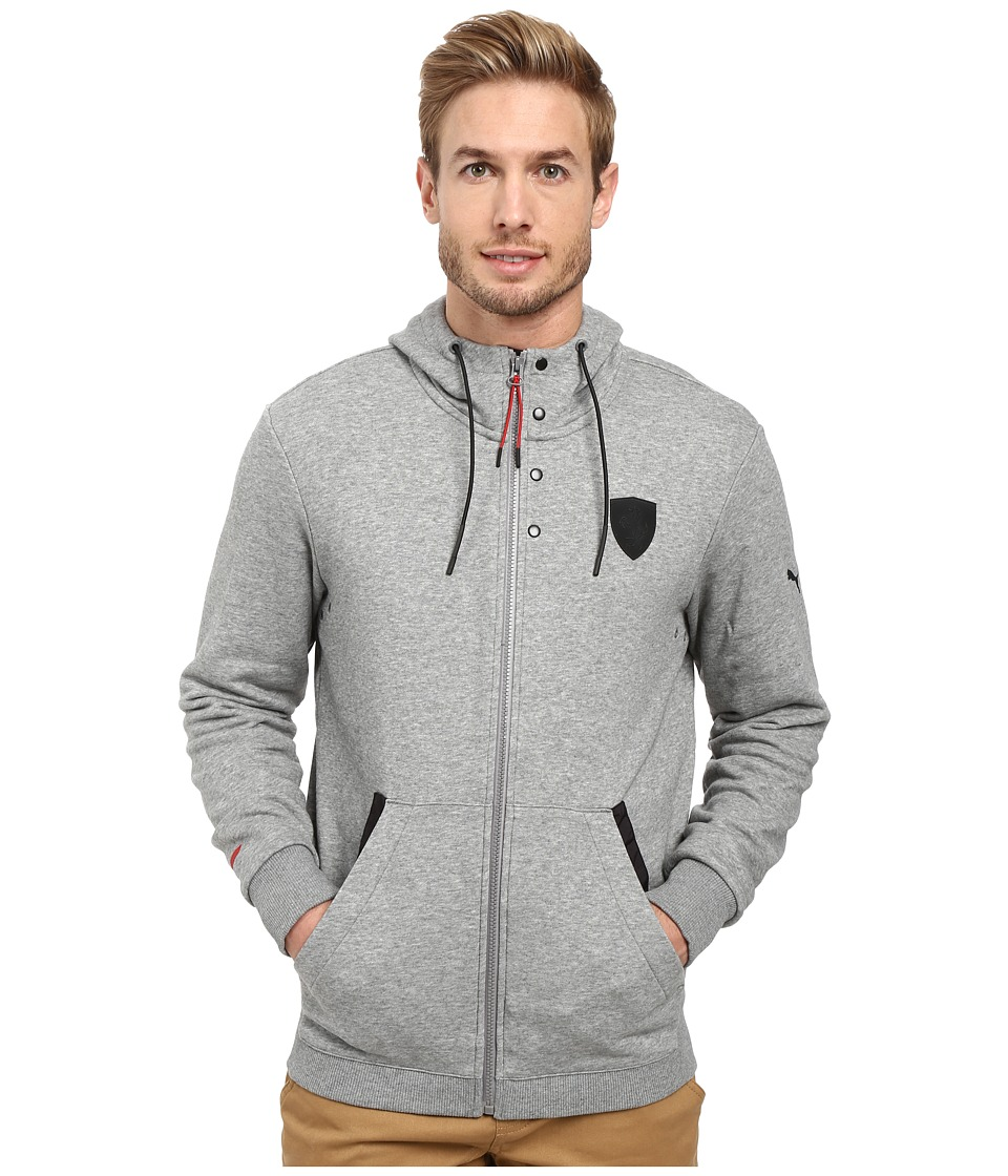 PUMA - Ferrari Hooded Sweat Jacket (Medium Gray Heather) Men's Jacket