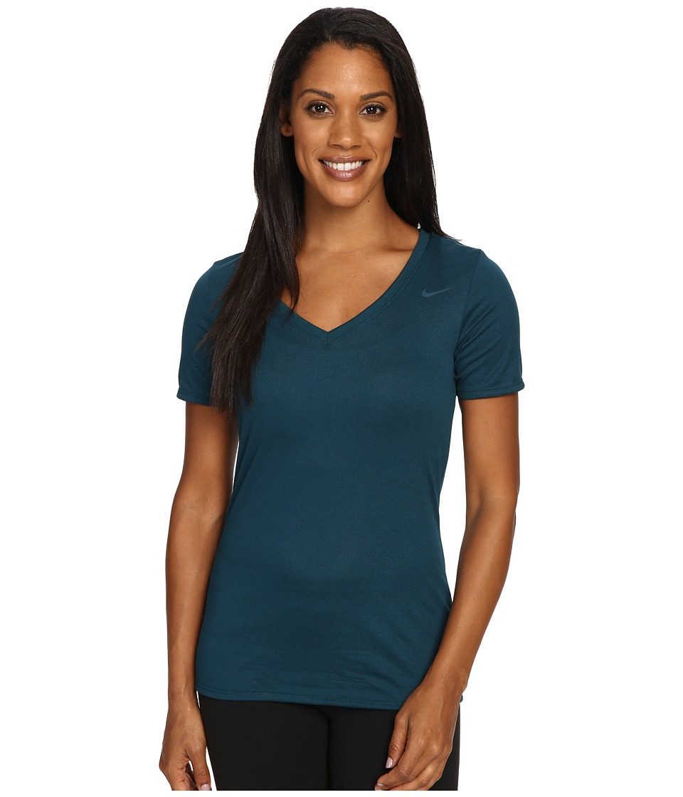 Nike - Legend 2.0 V-Neck Training Tee (Midnight Turquoise) Women's T Shirt