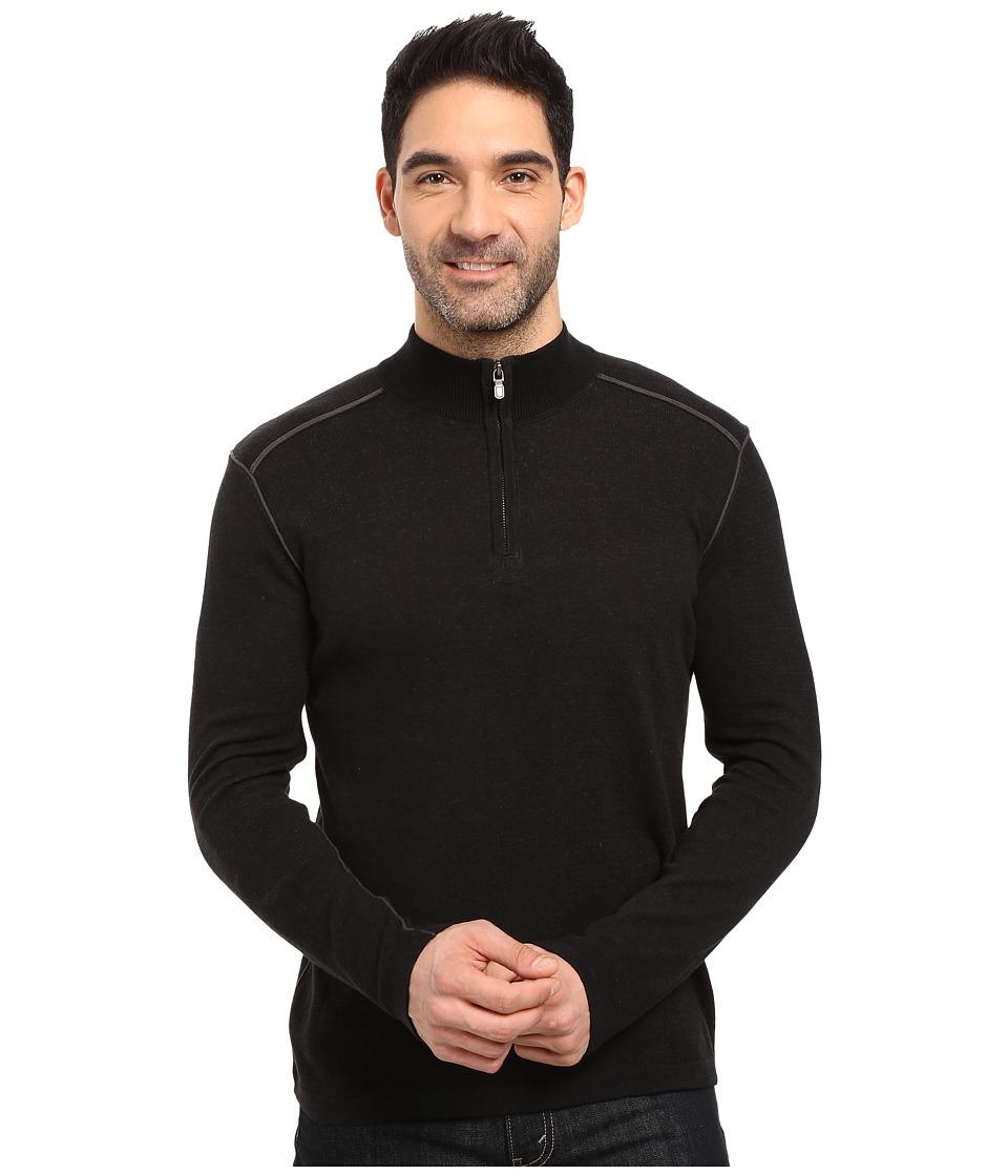 Ecoths Noah Zip Neck Sweater (Black/Dark Shadow) Men