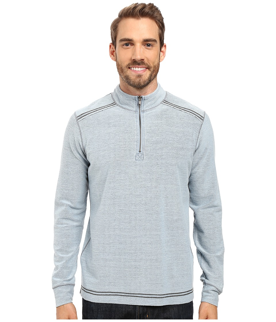 Ecoths - Theo Zip Neck (Denim Blue) Men's Sweater