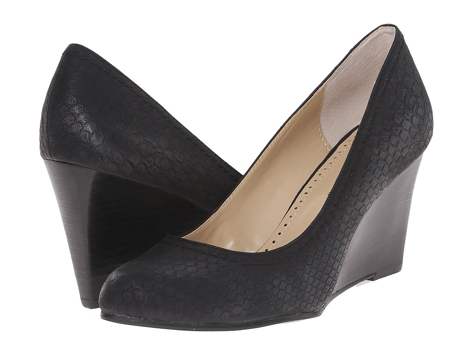 Adrienne Vittadini - Media-2 (Black Croco Print) Women's Wedge Shoes