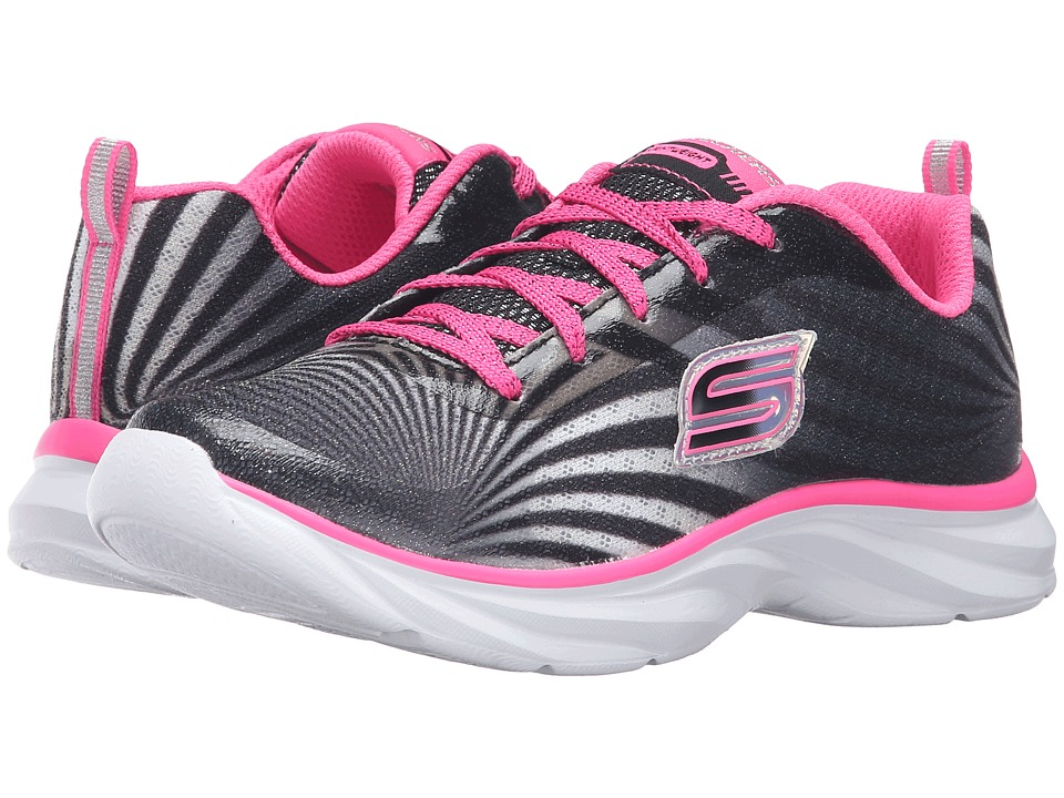 SKECHERS KIDS - Pepsters (Little Kid/Big Kid) (Black/White/Pink) Girls Shoes