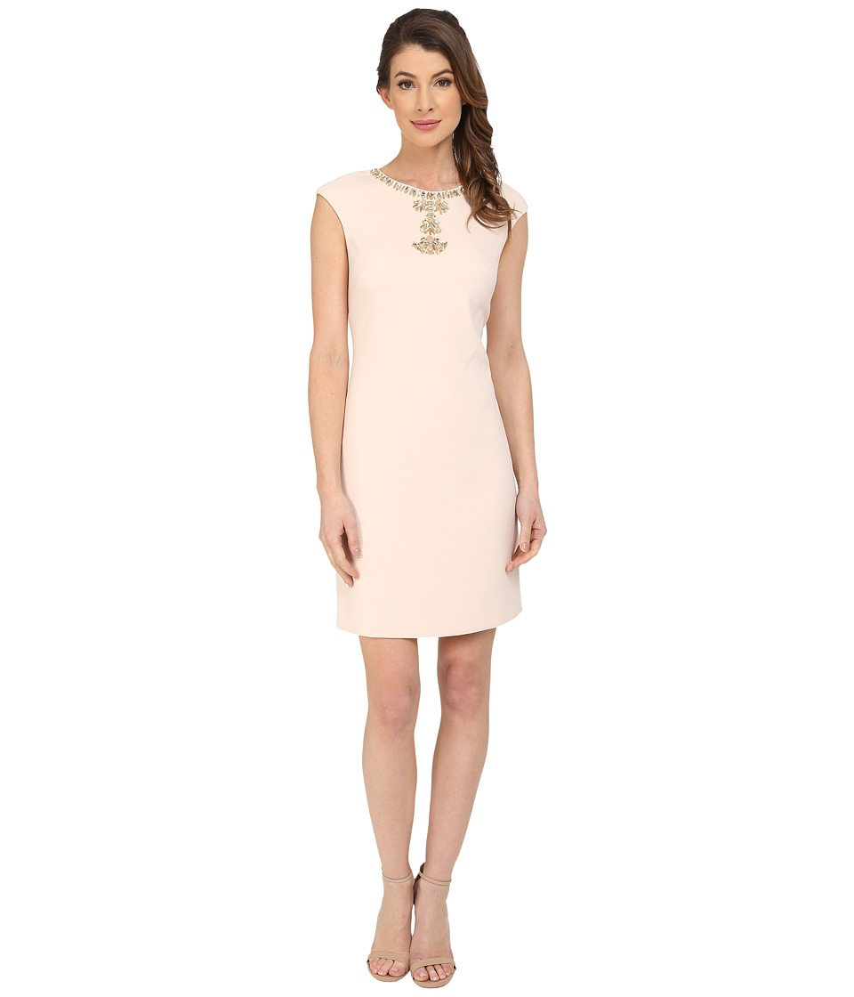 Vince Camuto - Extended Cap Shift with Beading On Front Neckline (Blush) Women's Dress