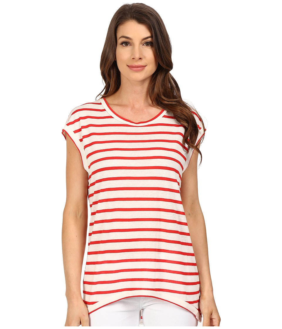 The Beginning Of - Fiona High-Low Tee (White/Red) Women's T Shirt