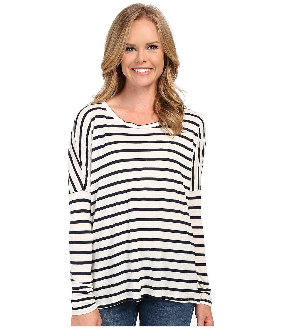 The Beginning Of - Stripe Cross Over Back Tee (White/Indigo) Women's T Shirt