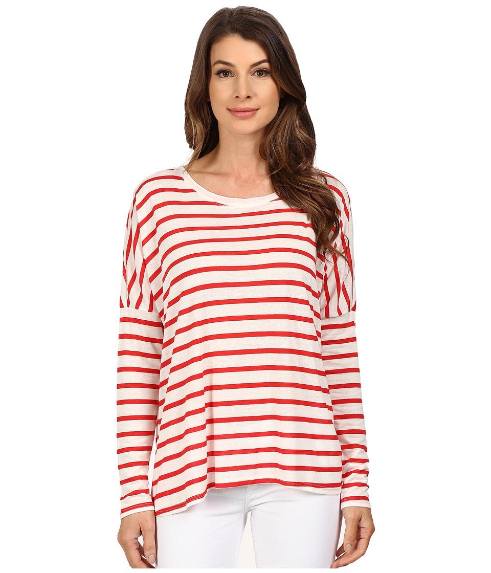 The Beginning Of - Stripe Cross Over Back Tee (White/Red) Women's T Shirt