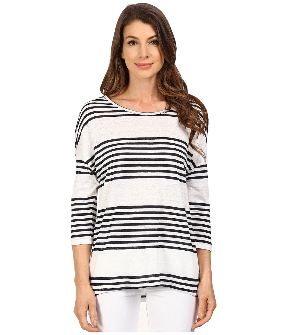 The Beginning Of - Jade Oversized Stripe Tee (White/Indigo) Women's T Shirt