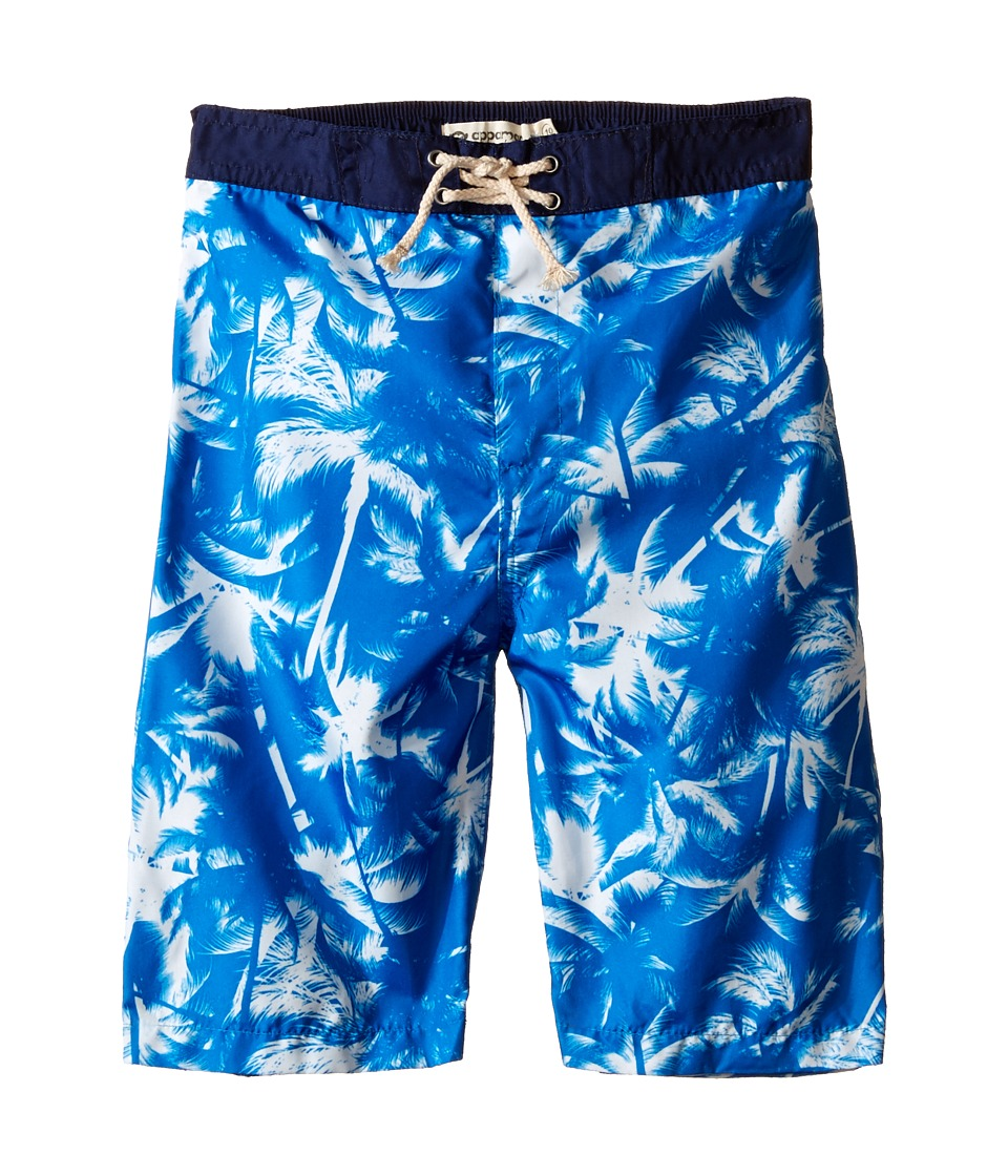 Appaman Kids - Elastic Wait and Lined Swim Trunks with Adstract Palm Tree Design (Toddler/Little Kids/Big Kids) (Methyl Blue) Boy's Swimwear