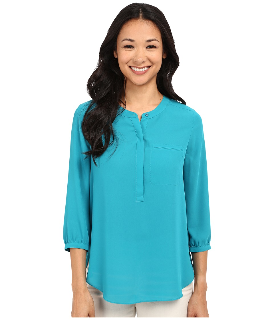 NYDJ Petite - Petite Solid 3/4 Sleeve Pleat Back (Turquoise) Women's Long Sleeve Pullover