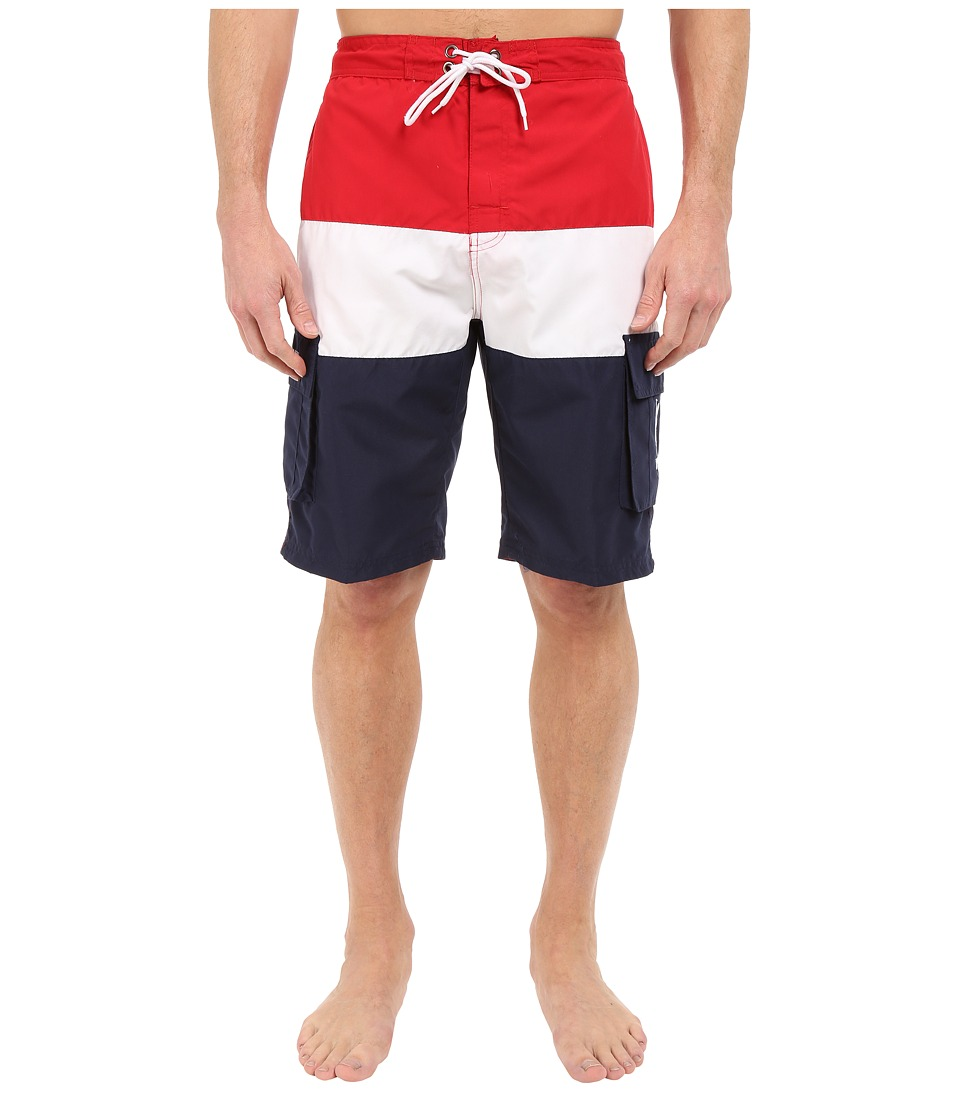 U.S. POLO ASSN. - Tri Color Block Cargo Boardshorts (Engine Red) Men's Swimwear