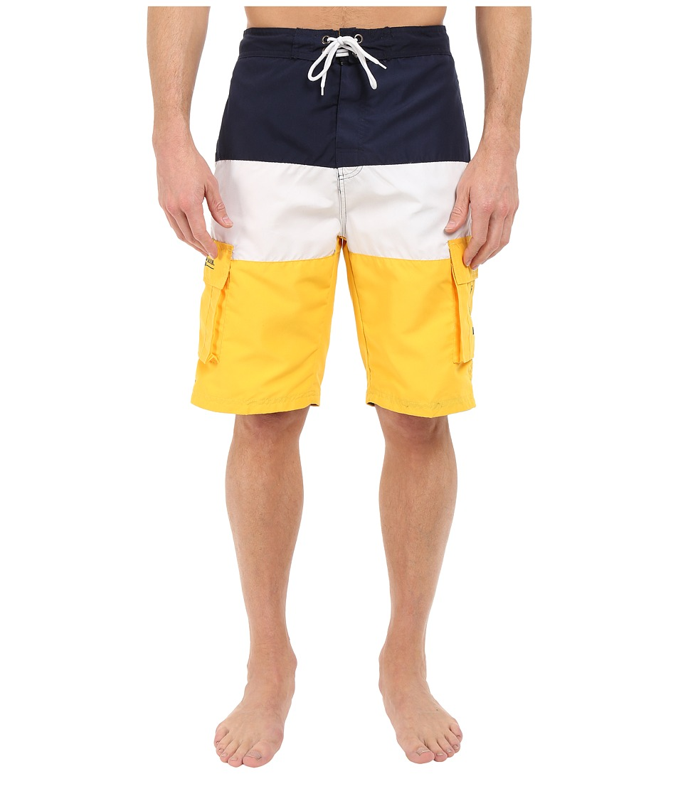 U.S. POLO ASSN. - Tri Color Block Cargo Boardshorts (Cape Yellow) Men's Swimwear