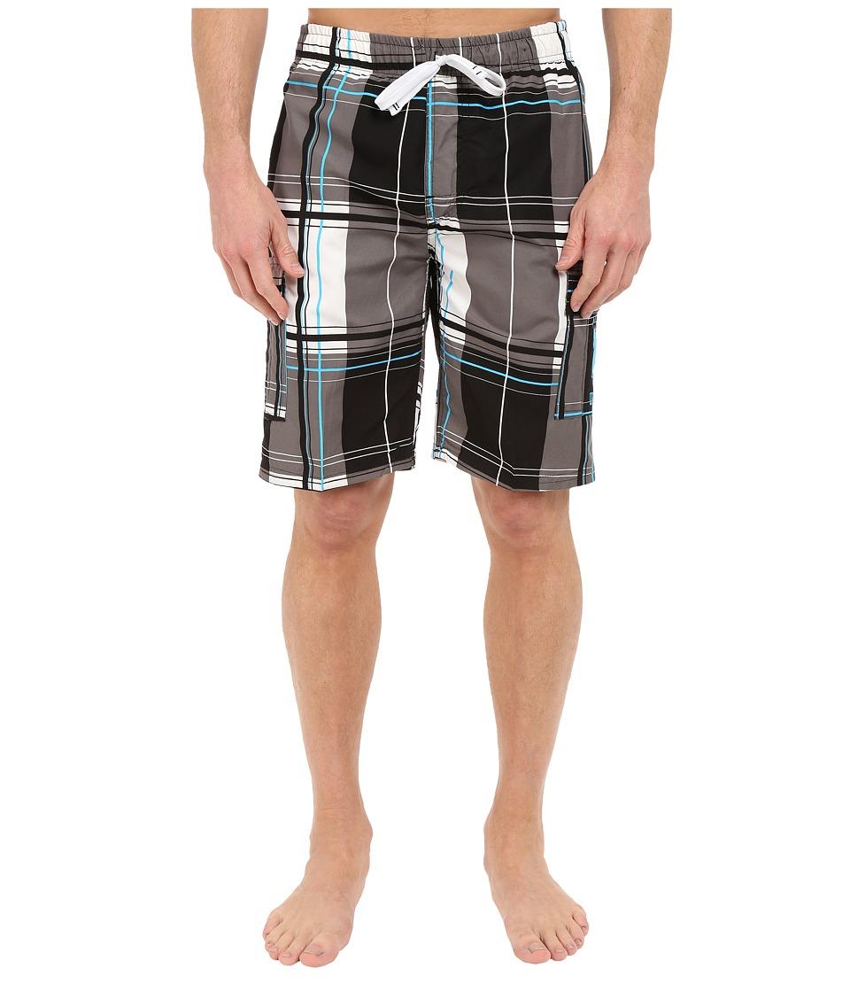 U.S. POLO ASSN. - Block Plaid Shorts (Black) Men's Swimwear