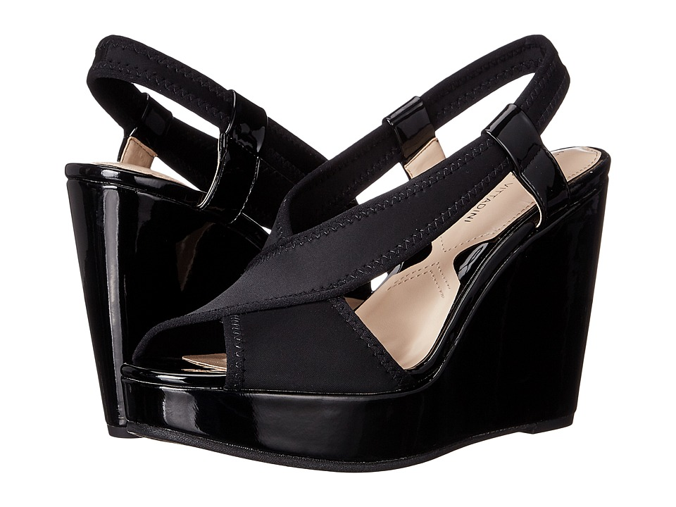 Adrienne Vittadini - Catri (Black Stretch Lycra Patent) Women's Wedge Shoes