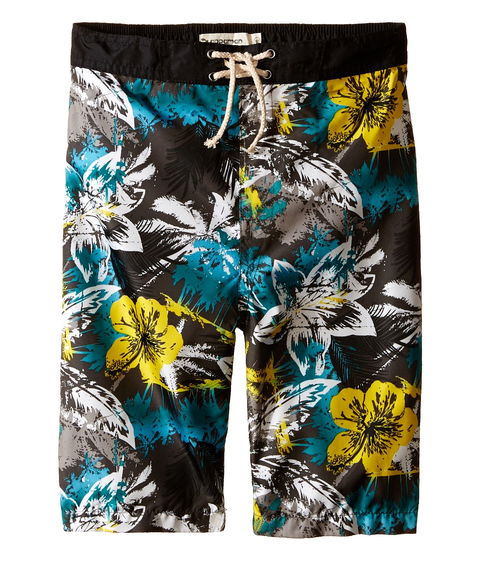 Appaman Kids - Elastic Wait and Lined Swim Trunks with Hawaian Inspired Design (Toddler/Little Kids/Big Kids) (Freesia) Boy's Swimwear
