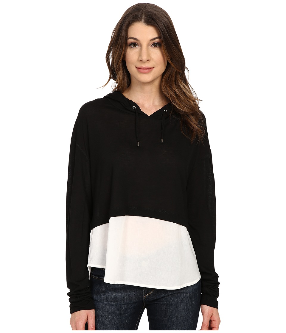The Beginning Of - Cashmere Modal Emma Blocked Hoodie (Black) Women's Sweatshirt