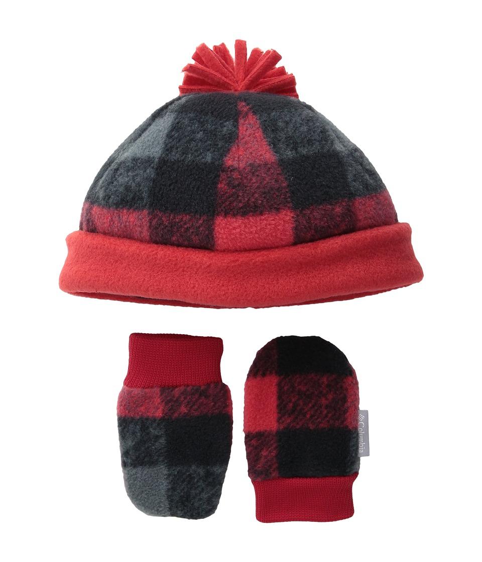 Columbia - Frosty Fleece Hat Mitten Set (Infant) (Mountain Red/Buffalo Print) Knit Hats