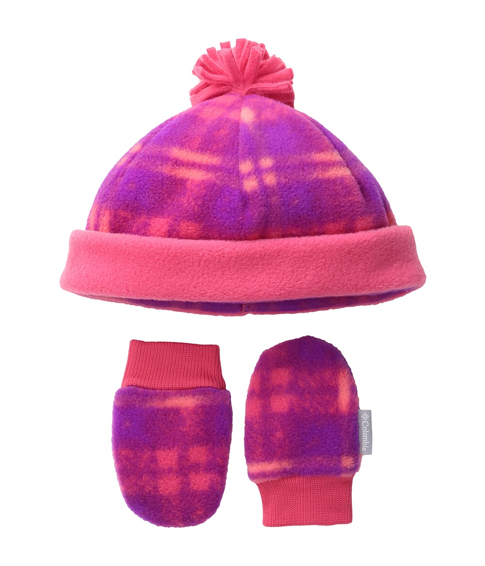 Columbia - Frosty Fleece Hat Mitten Set (Infant) (Punch Pink/Plaid Print) Knit Hats
