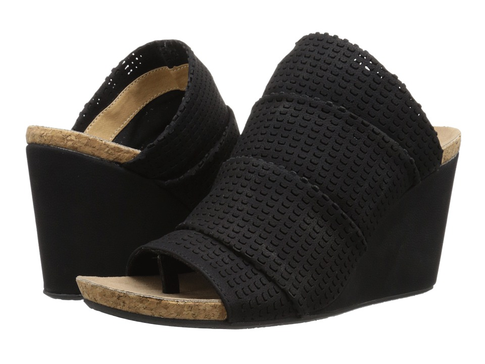 Adrienne Vittadini - Trieste (Black Woven Sueded) Women's Wedge Shoes