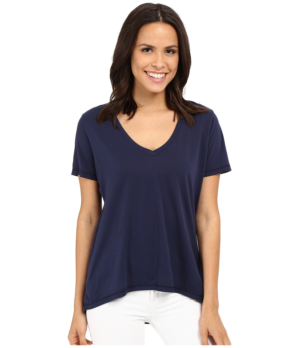 The Beginning Of - Olivia V-Neck High-Low Tee (Indigo) Women's Short Sleeve Pullover