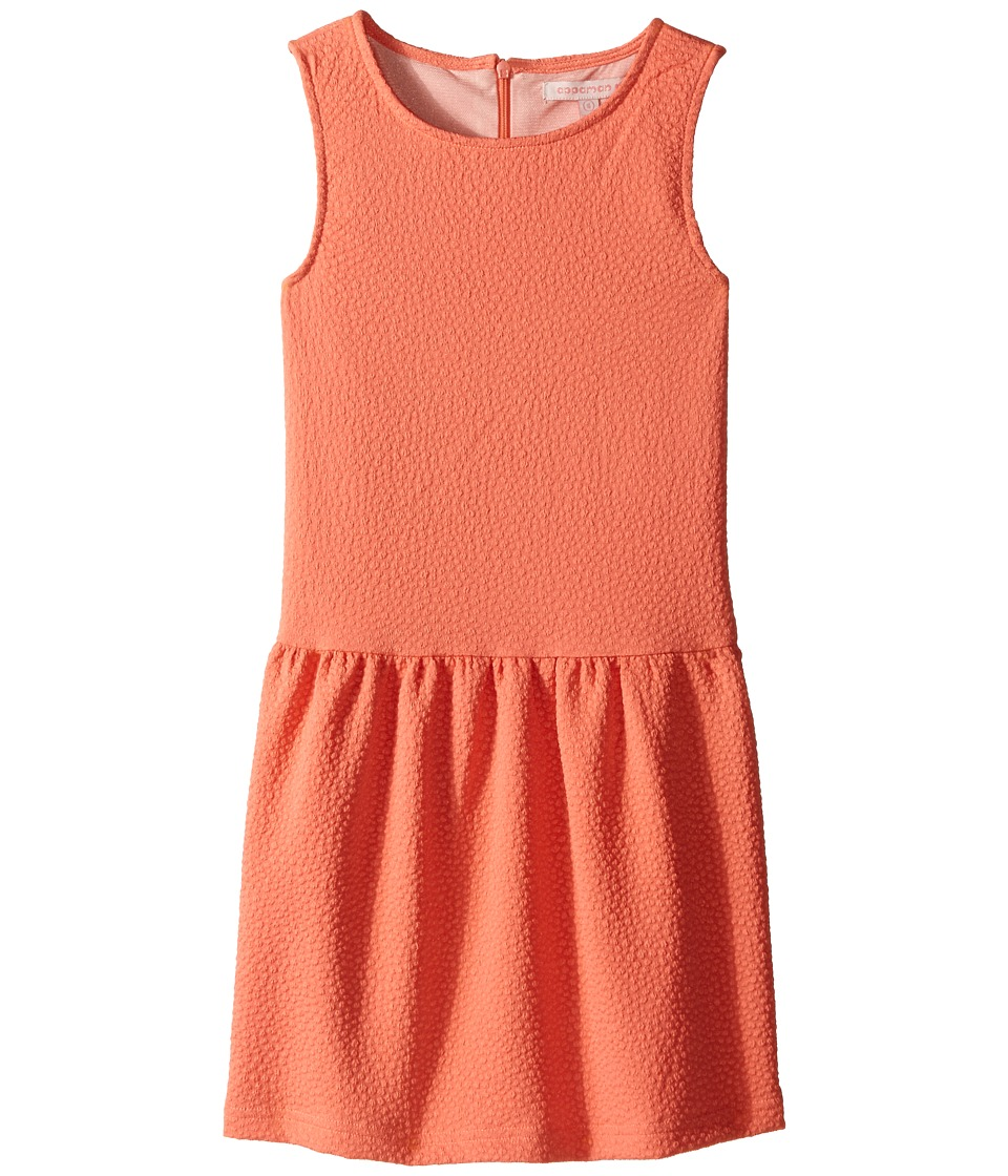 Appaman Kids - Classic Perry Drop Waist Dress with Popcorn Fabric Detail (Toddler/Little Kids/Big Kids) (Fusion Coral) Girl's Dress