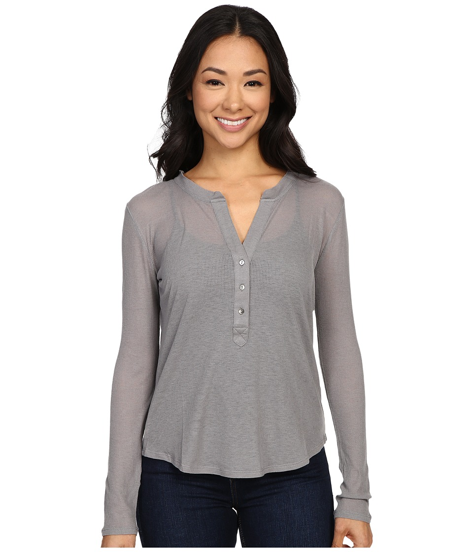 The Beginning Of - Rib Cashmere Madison Henley Tee (Heather Grey) Women's Long Sleeve Pullover