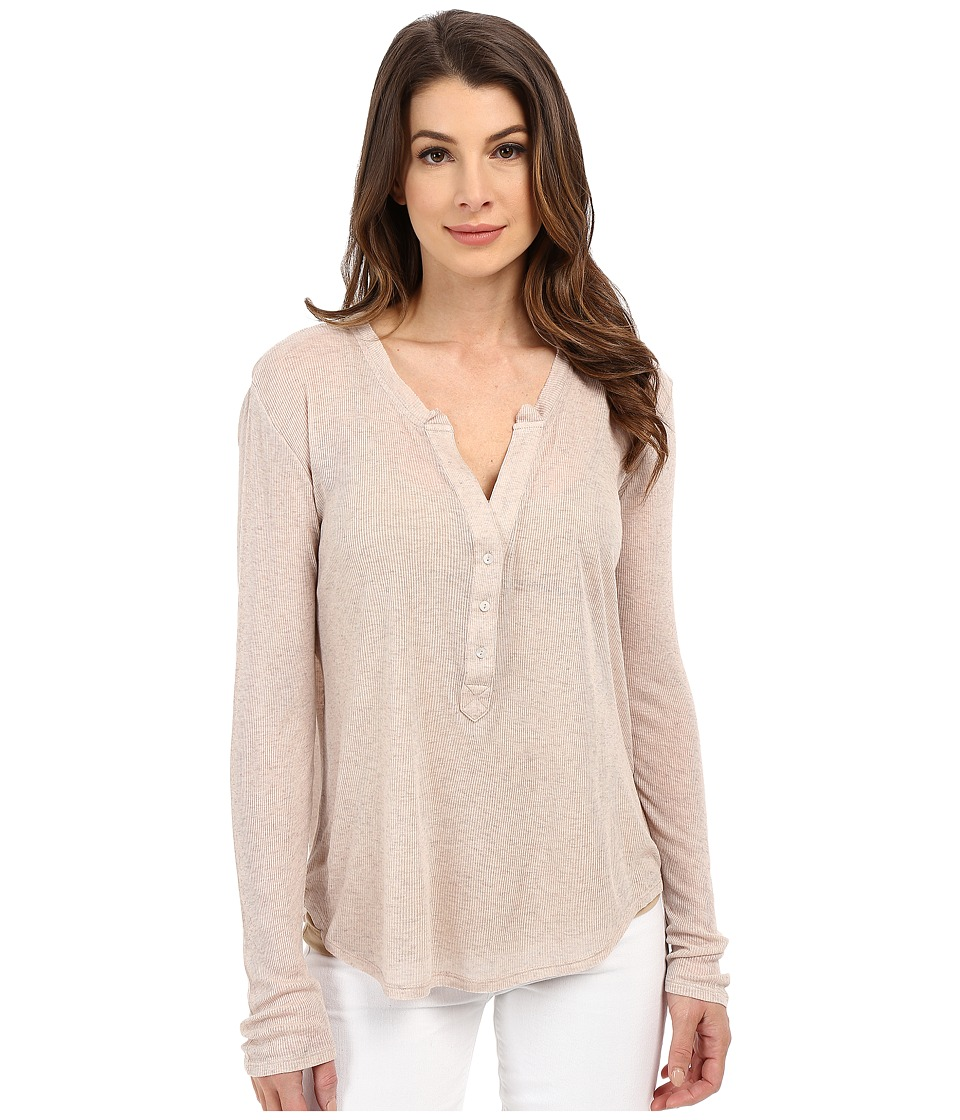 The Beginning Of - Rib Cashmere Madison Henley Tee (Sand) Women's Long Sleeve Pullover