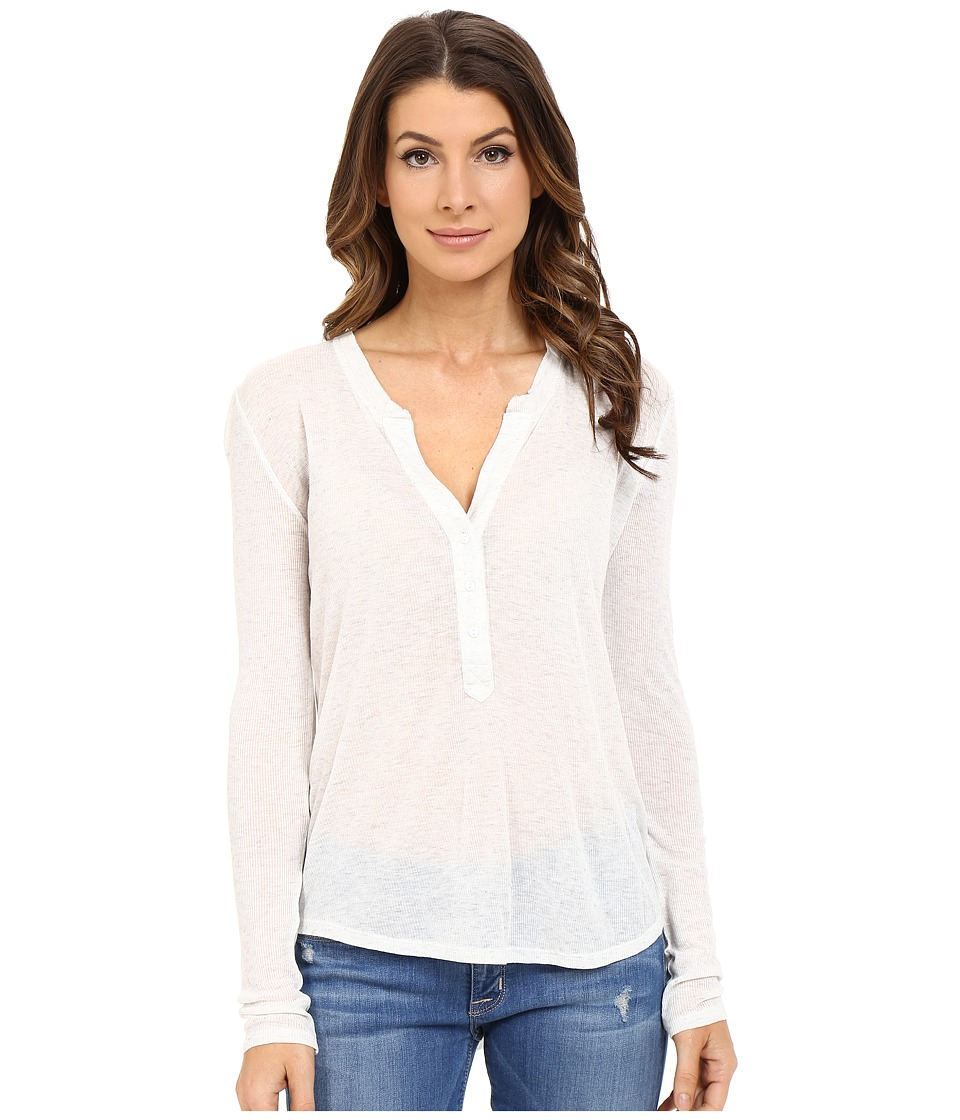 The Beginning Of - Rib Cashmere Madison Henley Tee (Snow) Women's Long Sleeve Pullover