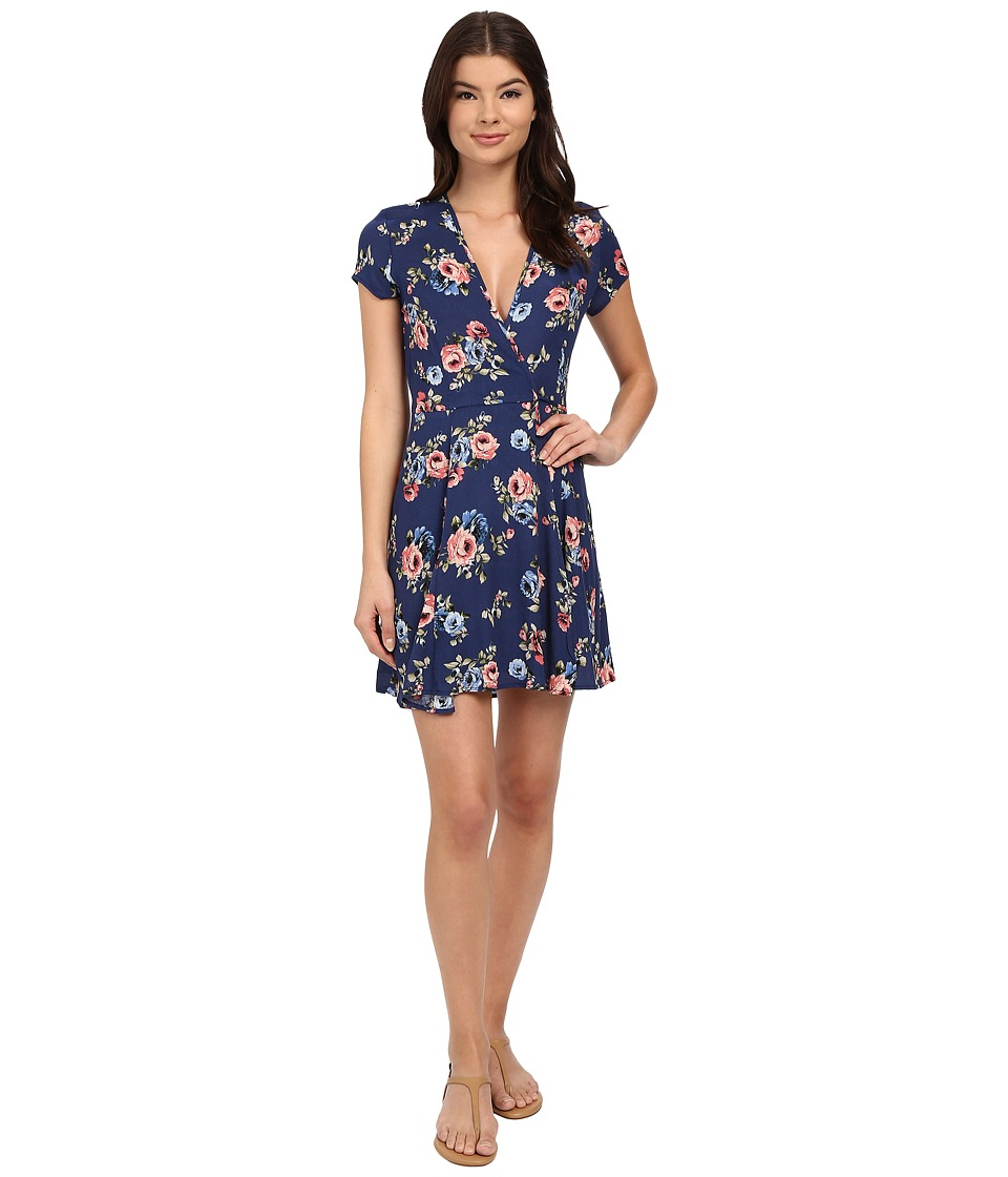 Brigitte Bailey - Charlotte Floral Wrap Dress (Navy) Women's Dress