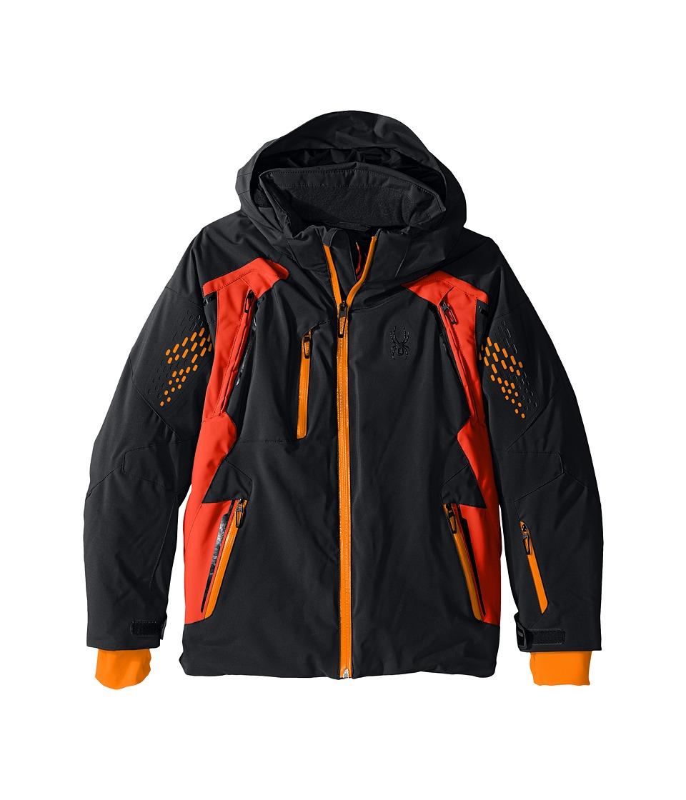 Spyder Kids - Vail Jacket (Big Kids) (Black/Rage/Bryte Orange) Boy's Coat