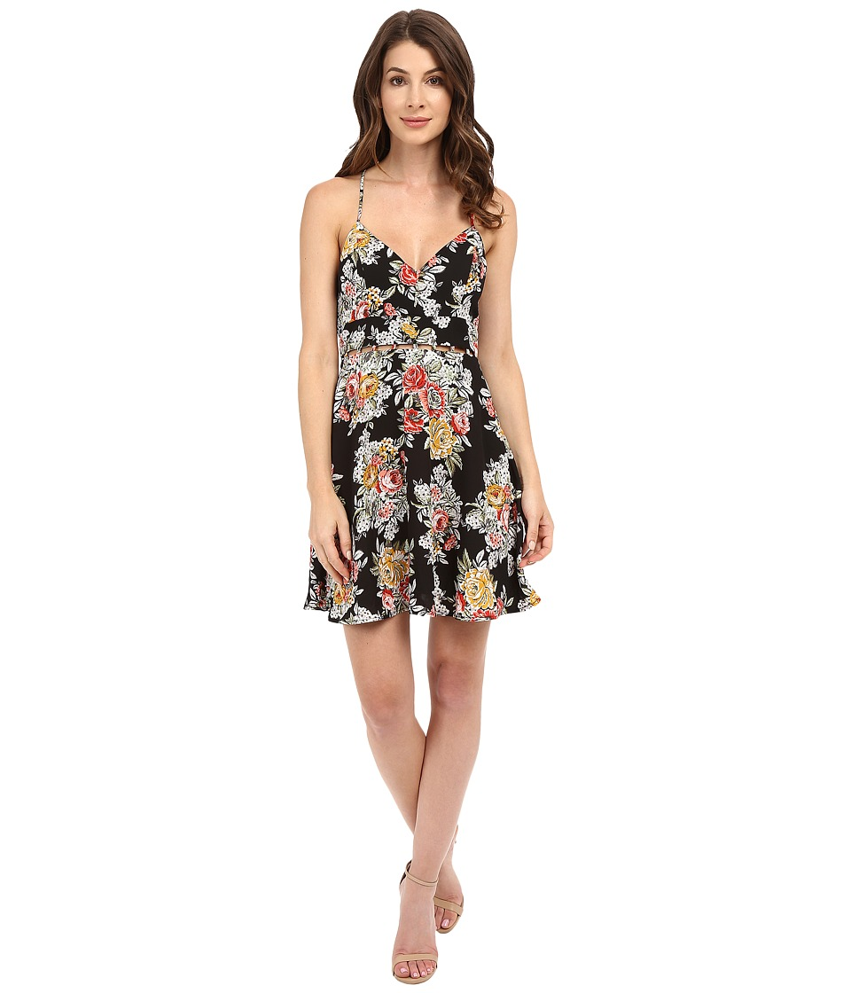 Brigitte Bailey - Willow Printed Tie Dress (Black Floral) Women's Dress