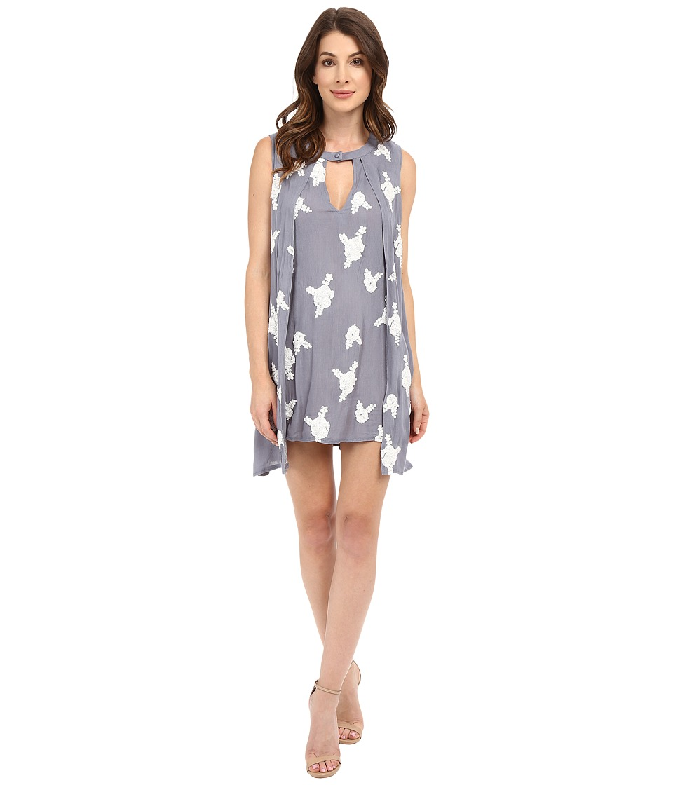 Brigitte Bailey - Layla Key Hole Embroidered Dress (Grey) Women's Dress