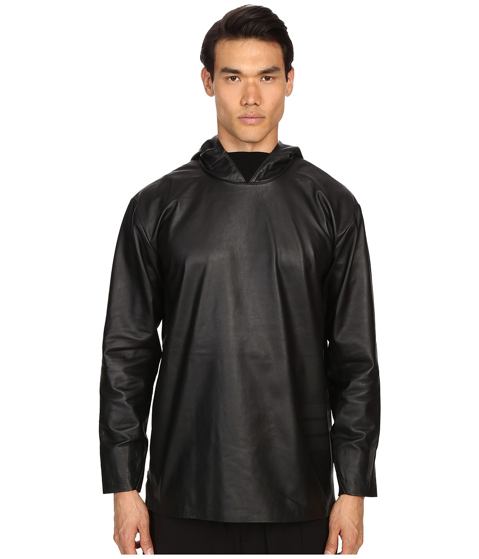 adidas Y-3 by Yohji Yamamoto - Leather Hoodie (Black) Men's Sweatshirt
